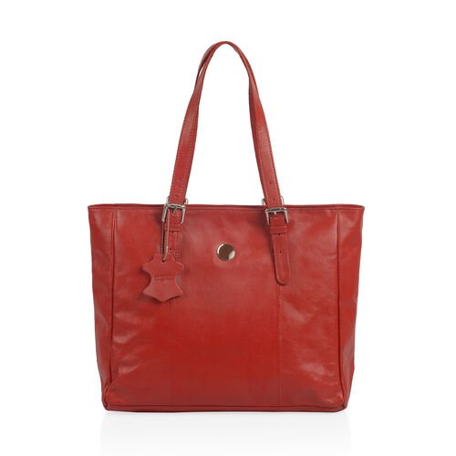 Close Out Deal 100% Genuine Leather Floral  Embossed Sassy Red Colour Large Tote Handbag with Should