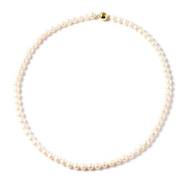 Japanese Akoya Pearl Bracelet (Size 7) with Magnetic Lock in Yellow Gold Overlay Sterling Silver