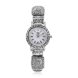 Royal Bali Collection EON 1962 Diamond Studded and Swiss Movement Sterling Silver Watch (Size 7.25),