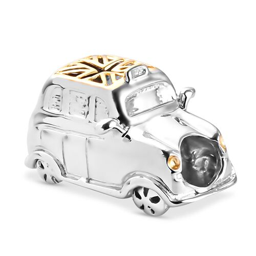 London Taxi Yellow Gold and Platinum Overlay Sterling Silver Charm, Silver wt 7.30 Gms.