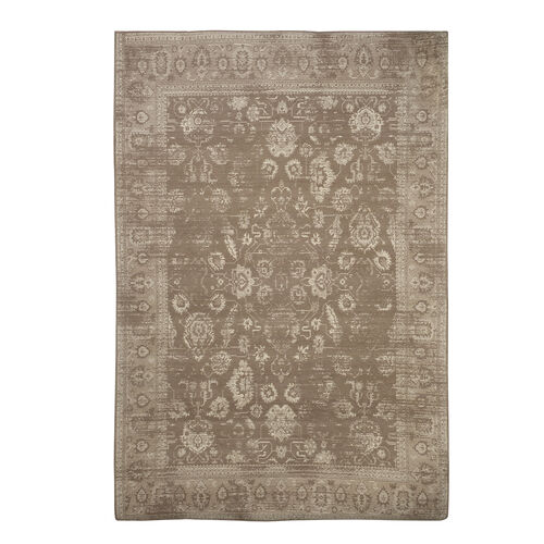 Premium Jacquard Woven Cotton Chenille Area Rug with Floral Design in Beige and Light Grey Colour (S