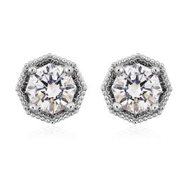 J Francis Made with SWAROVSKI ZIRCONIA Solitaire Stud Earrings in Rhodium Plated Silver