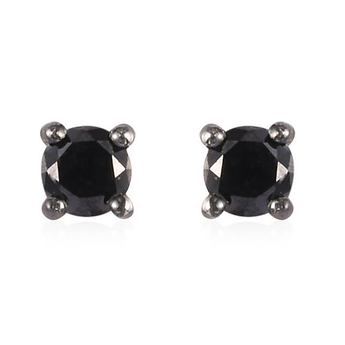 Black Diamond Stud Earrings (with Push Back) in Sterling Silver 0.33 Ct.
