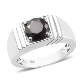 1 Carat Elite Shungite Solitaire Ring in Platinum Plated Sterling Silver 6 Grams