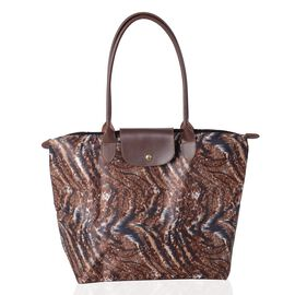 Super Chic Light Weight Water Resistant Brown Tiger Print  Extra Large Tote Handbag (46x36x16 cm)