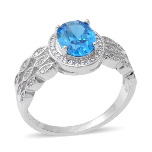 ELANZA Simulated Blue Topaz and Simulated Diamond Halo Ring in Rhodium Plated Sterling Silver