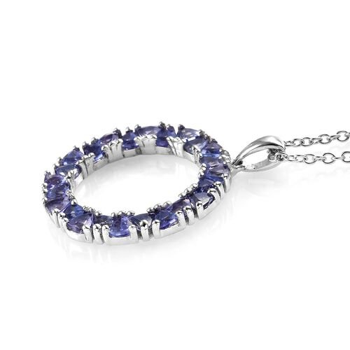 Tanzanite (Trl) Circle of Life Pendant with Chain in Platinum Overlay Sterling Silver 2.750 Ct.
