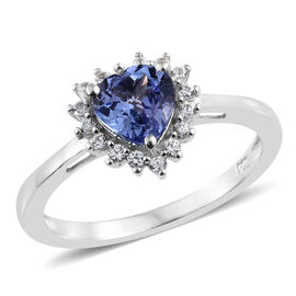 Very Limited Available- Very Rare Size Tanzanite (Hrt 1.20 Ct), Natural Cambodian Zircon Ring in Platinum Overlay Sterling Silver 1.500 Ct.