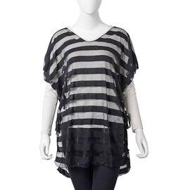 One Time Mega Deal-Black Colour Transparent Stripe Pattern Vest (Size 75x65 Cm)
