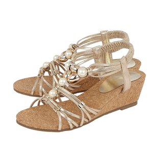 LOTUS Gold Amy Wedge Sandals