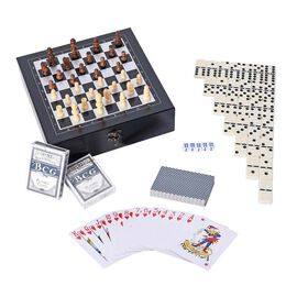 Games Set in Folding Checkerboard Box (includes 32 Chess Pieces, 2 Decks of Cards, 5 Dice and 28 Dom