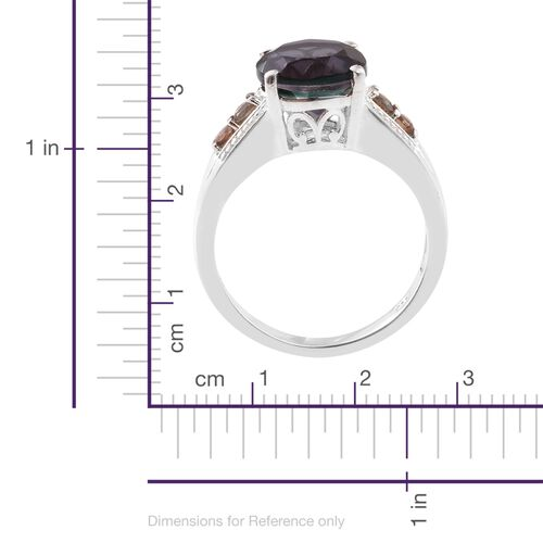 Colour Change Alexandrite Quartz (Rnd 3.75 Ct), Jenipapo Andalusite Ring in Sterling Silver 4.000 Ct.