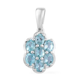 Paraibe Apatite (Ovl) Floral Pendant in Sterling Silver 1.250 Ct.
