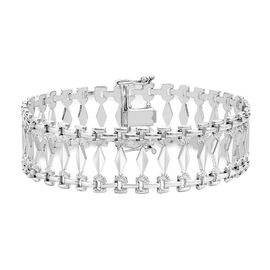 9K White Gold Cleopatra Bracelet (Size 7.5) with Box Clasp, Gold Wt. 10.24 Gms