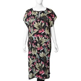 Black and Multi Colour Floral Pattern Apparel (Size 105x69+24 Cm)