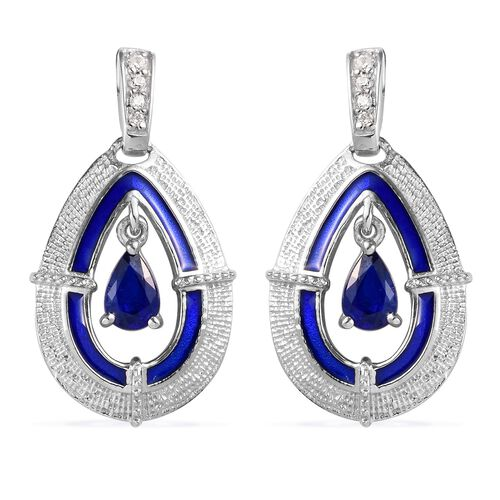 Tanzanian Blue Spinel and Natural Cambodian Zircon Enamelled Dangle Earrings (with Push Back) in Pla