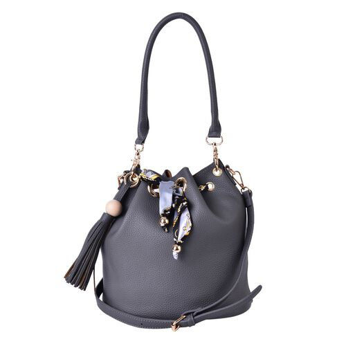 Grey Colour Shoulder Bag with Tassels and Grey and Yellow Colour Scarf (Size 26x26x17 Cm)