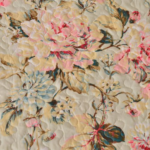 Double Size Pink Floral Printed Beige Colour Duvet Cover (200x200 cm) with with King Size Fitted Sheet (150x200 cm) and Two Pillow Shams (50x75 cm)