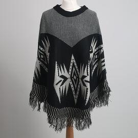 Tribal Print Round Neck Poncho with Tassel Trim (Size 110x70cm) - Black
