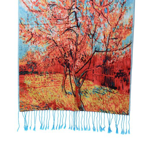 Designer Inspired Double Sided Digital Tree Printed Blue and Multi Colour Scarf with Fringes (Size 165x50 Cm)