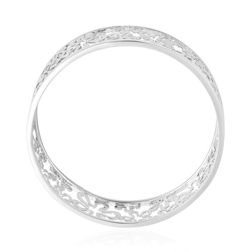 LucyQ - Splash Bangle (Size 7.5) in Rhodium Overlay Sterling Silver