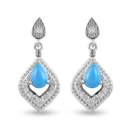 Arizona Sleeping Beauty Turquoise and Natural Cambodian Zircon Dangling Earrings (with Push Back) in