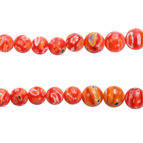 3 Piece Set -  Red Murano Style  Glass Necklace (Size 20 with Magnetic Lock), Stretchable Bracelet (Size 6.5) and Hook Earrings