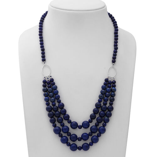 GP - Lapis Lazuli, Blue Sapphire Necklace (Size 23) with Star Charm in Rhodium Overlay Sterling Silver 500.03 Ct.