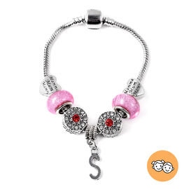 S Initial Charm Bracelet for Children in Simulated Pink Colour Bead, Red and White Austrian Crystal