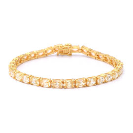 ELANZA Swiss Star Cut Canary Cubic Zirconia  (Rnd) Bracelet (Size 7.5) in Yellow Gold Overlay Sterli
