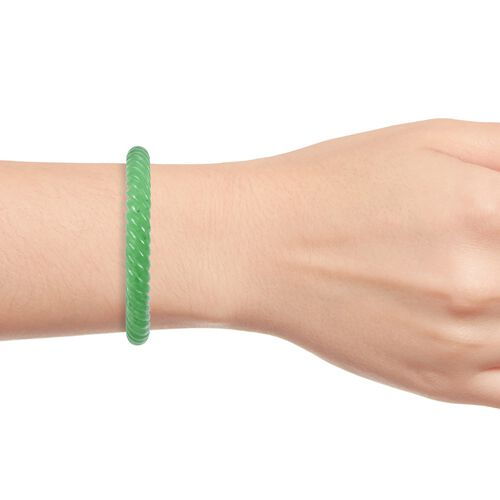 Limited Available - Hand Carved Green Jade Bangle (Size 7.5) 235.000 Ct.
