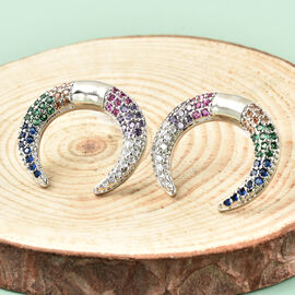 Simulated Multi Gemstone Crescent Moon Earrings (with Push Back) in Silver Tone