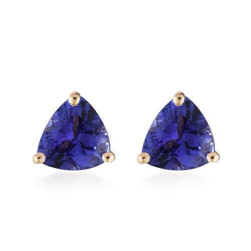 ILIANA 1.5 Carat AAA Trillion Cut Tanzanite Studs Earrings in 18K Gold
