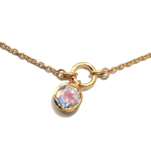 Mercury Mystic Topaz (Rnd) Necklace (Size 20) in 14K Gold Overlay Sterling Silver 12.000 Ct. Silver wt 10.00 Gms.