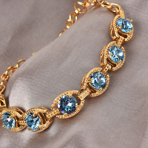 J Francis Crystal from Swarovski Aquamarine Colour Crystal Bracelet (Size 7.5) in Yellow Gold Tone