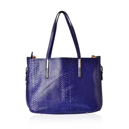 Set of 2 - Snake Embossed Blue and Black Colour Tote Bag (Size 37x24.5x15 Cm) and Chocolate Colour Leopard Pattern Crossbody Bag (Size 32x22.5x13 Cm)