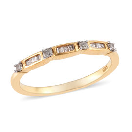 Diamond (Rnd and Bgt) Band Ring in 14K Gold Overlay Sterling Silver 0.150 Ct.