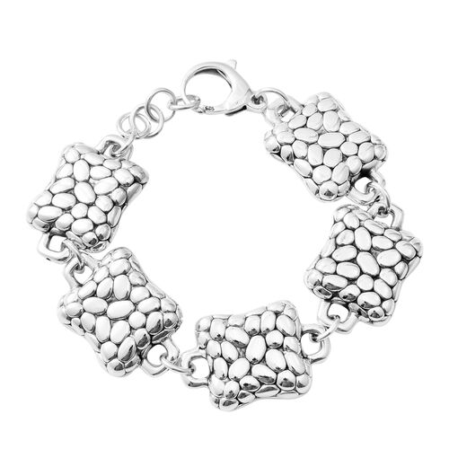 Hong Kong Close Out- Rhodium Overlay Sterling Silver Bracelet (Size 7.75), Silver wt: 21.34 Gms.