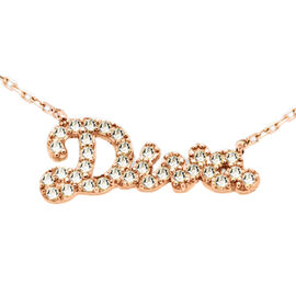 Simulated Diamond DIVA Necklace (Size 18) in Rose Gold Overlay Sterling Silver