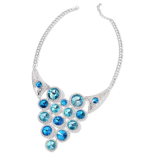 Designer Inspired - Simulated Blue Diamond BIB Necklace (Size 22 with 2 inch Extender) in Silver Ton