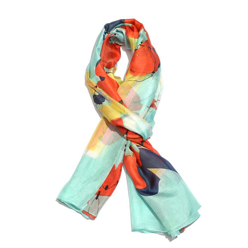 100% Mulberry Silk Red Cally Floral Printed Green and Multi Colour Scarf (Size 180x100 Cm)