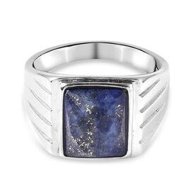 Lapis Lazuli Ring in Stainless Steel 15.75 Ct.