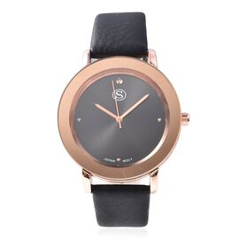 STRADA Japanese Movement Water Resistance Watch in Rose Tone with Black Strap