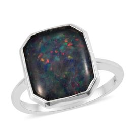 One Time Deal - Boulder Opal (Oct 12x10) Platinum Overlay Sterling Silver Ring