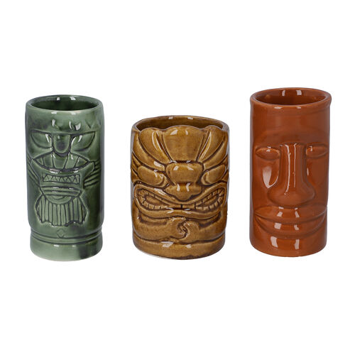 3 Piece Set - Ceramic Tiki Mug - Grey, Light and Dark Brown