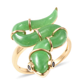 Green Jade and Boi Ploi Black Spinel Snake Ring in Yellow Gold Overlay Sterling Silver 9.58 Ct.