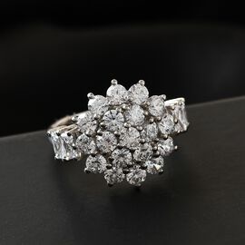 J Francis Platinum Overlay Sterling Silver Cluster Ring Made with SWAROVSKI ZIRCONIA 4.36 Ct.