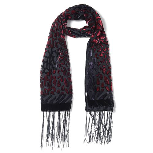 Designer Inspired - Red and Black Colour Devore Style Leopard Pattern Scarf (Size 160x50 Cm)