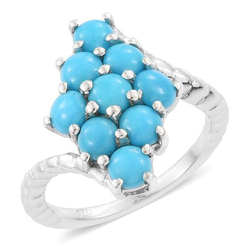 Arizona Sleeping Beauty Turquoise (Rnd) Ring in Platinum Overlay Sterling Silver 2.250 Ct.
