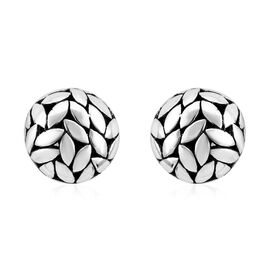 Bali Legacy Collection Sterling Silver Leaves Earrings (with French Clasp)